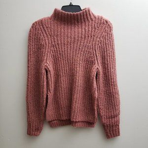 Leith Pink Sweater Mock Neck Long Sleeves